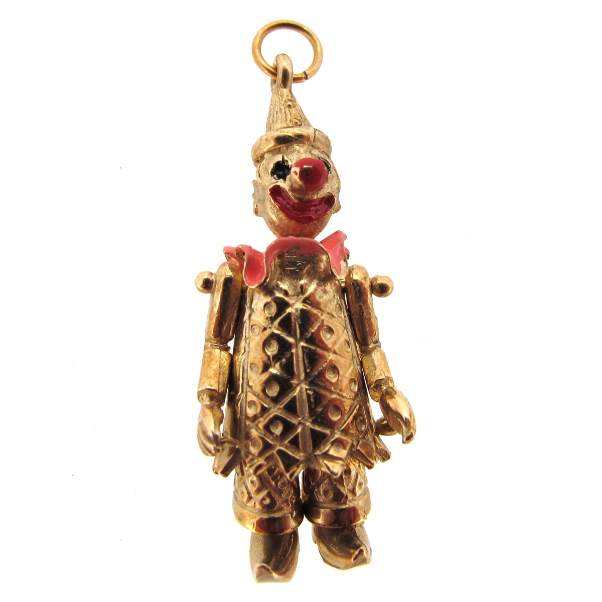 Gold & Enamel Clown Charm