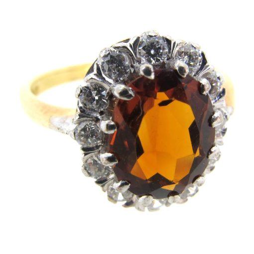 Citrine & Diamond Cluster Ring