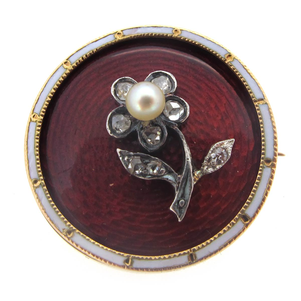 Enamel, Pearl & Diamond Flower Brooch