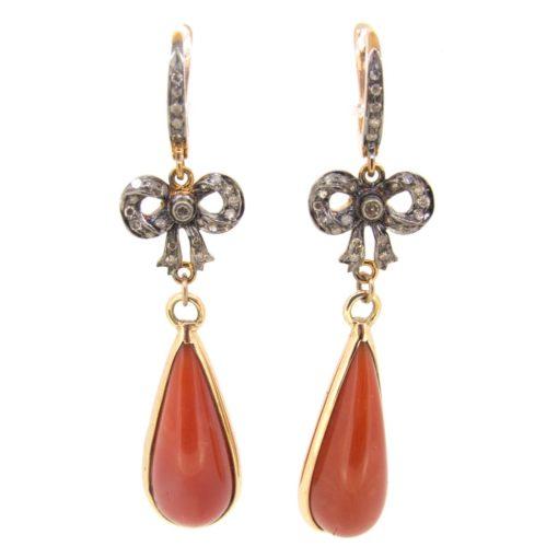 Coral & Diamond Earrings