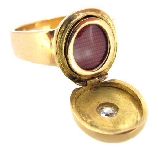 Gold & Diamond Locket Ring