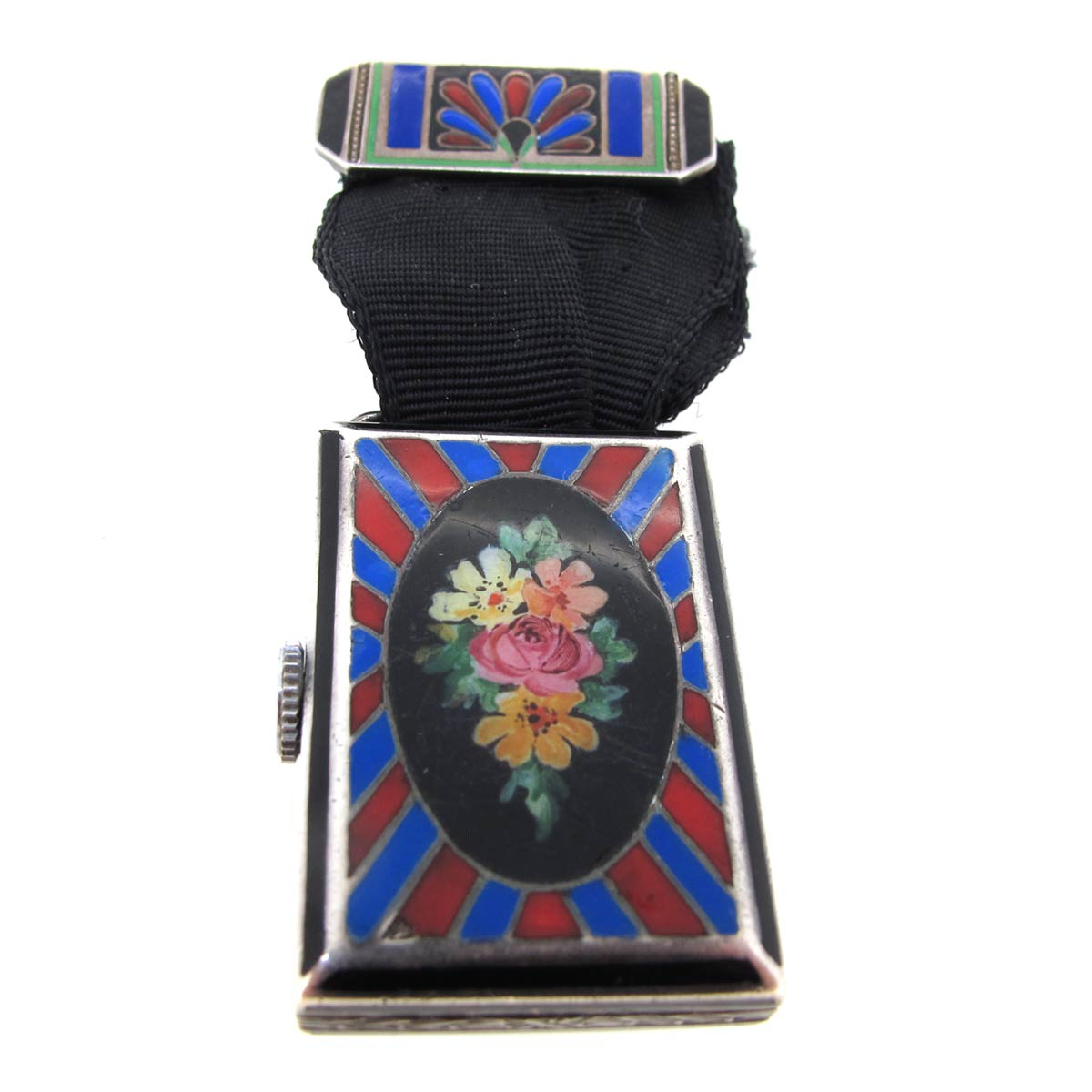 Art Deco Enamel Brooch Watch