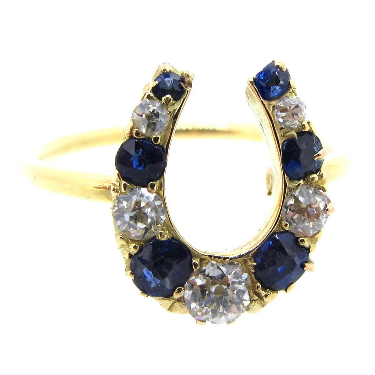 Sapphire & Diamond Horseshoe Ring