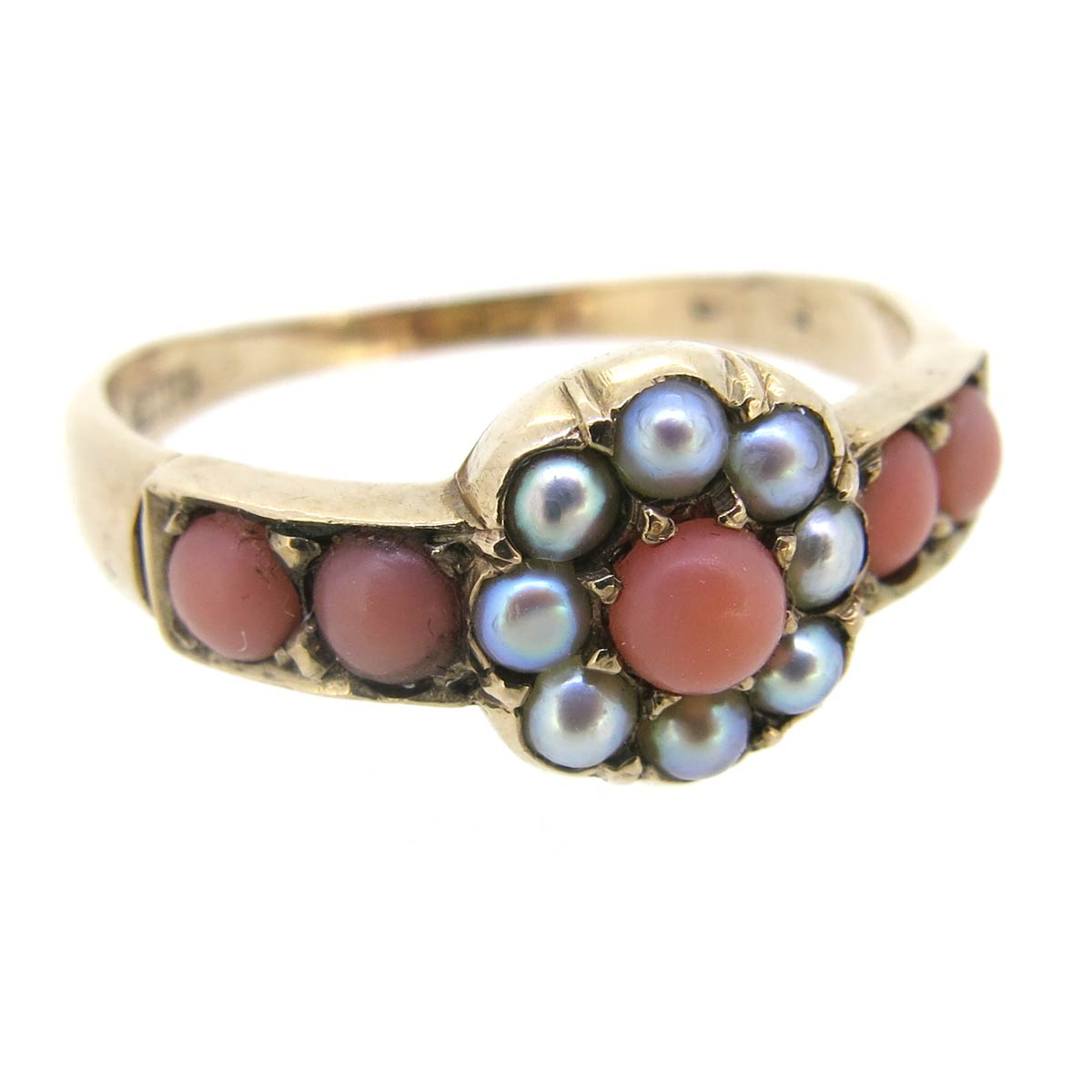 Antique Coral & Pearl Ring