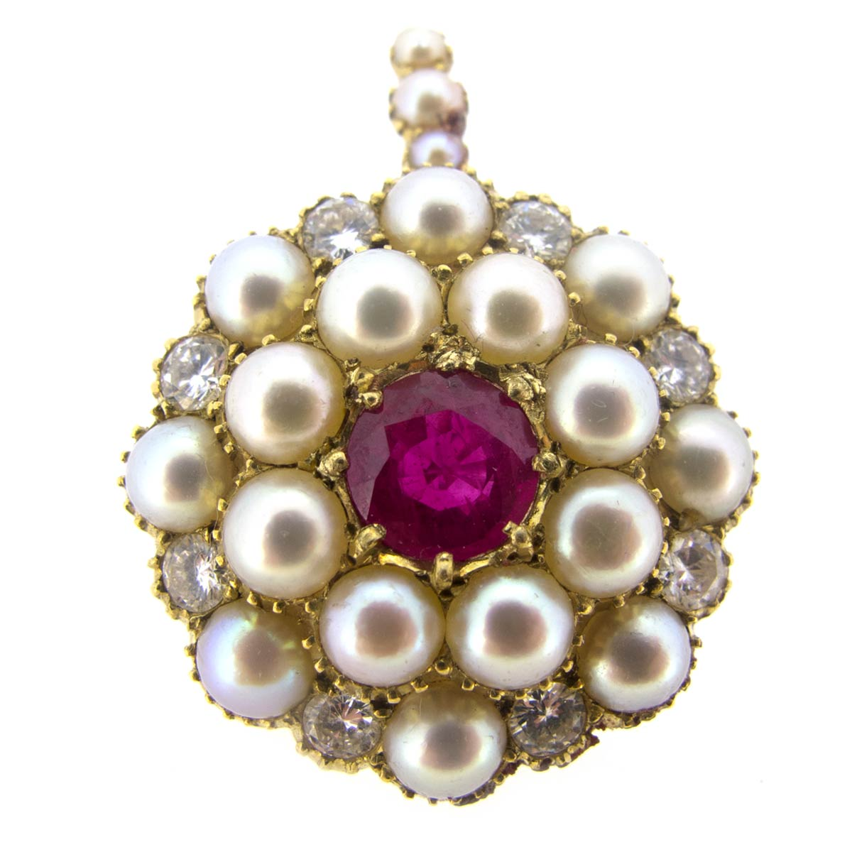 Ruby, Pearl & Diamond Pendant/ Brooch