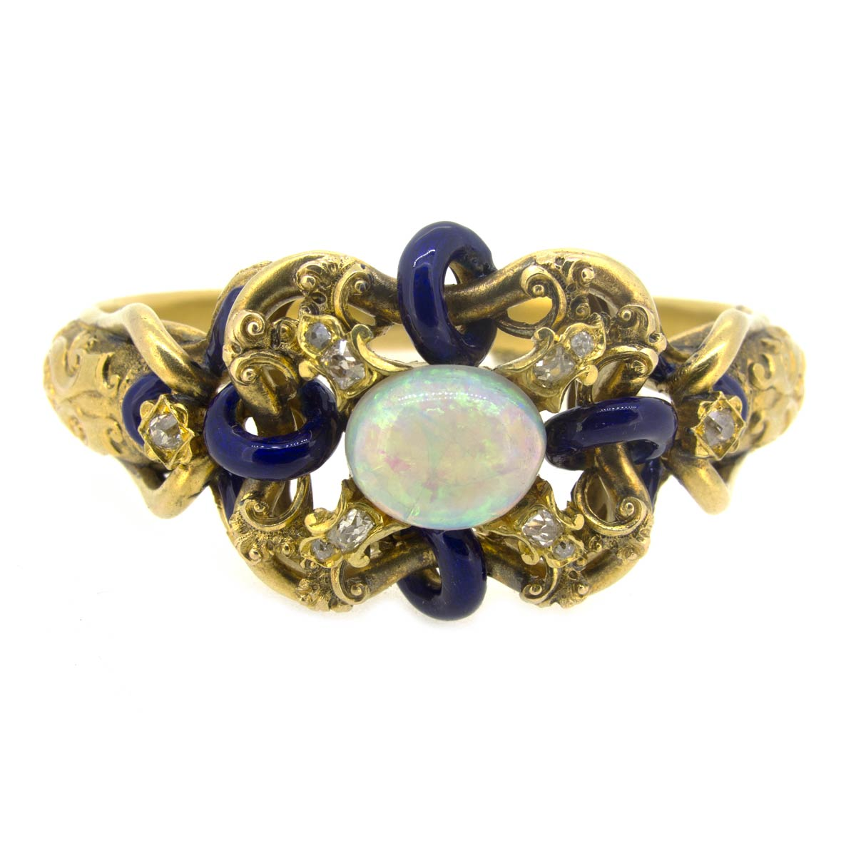 Antique Opal, Diamond & Enamel Bangle