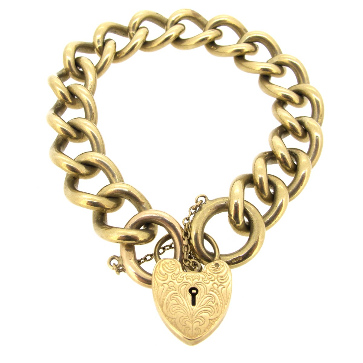 Gold Bracelet with Heart Padlock