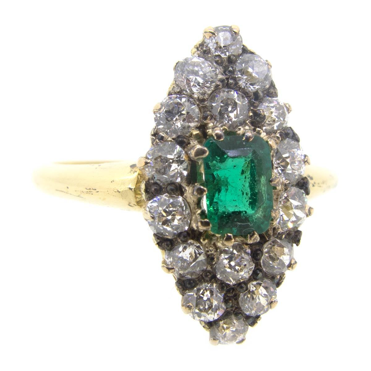Emerald & Diamond Navette Ring