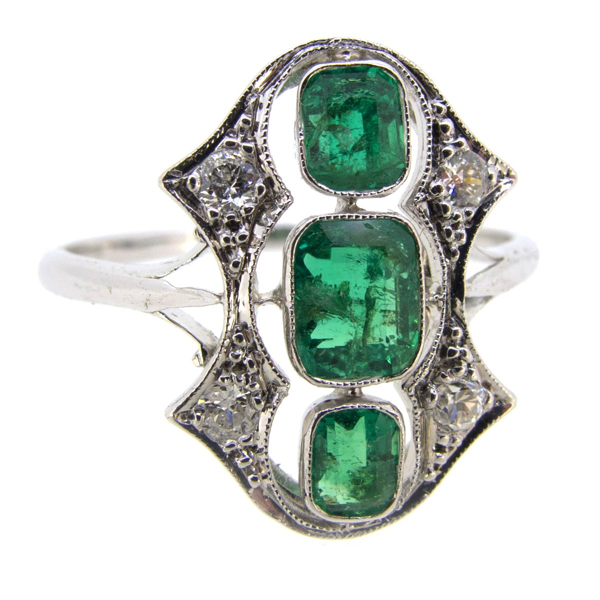 Emerald & Diamond Tablet Ring