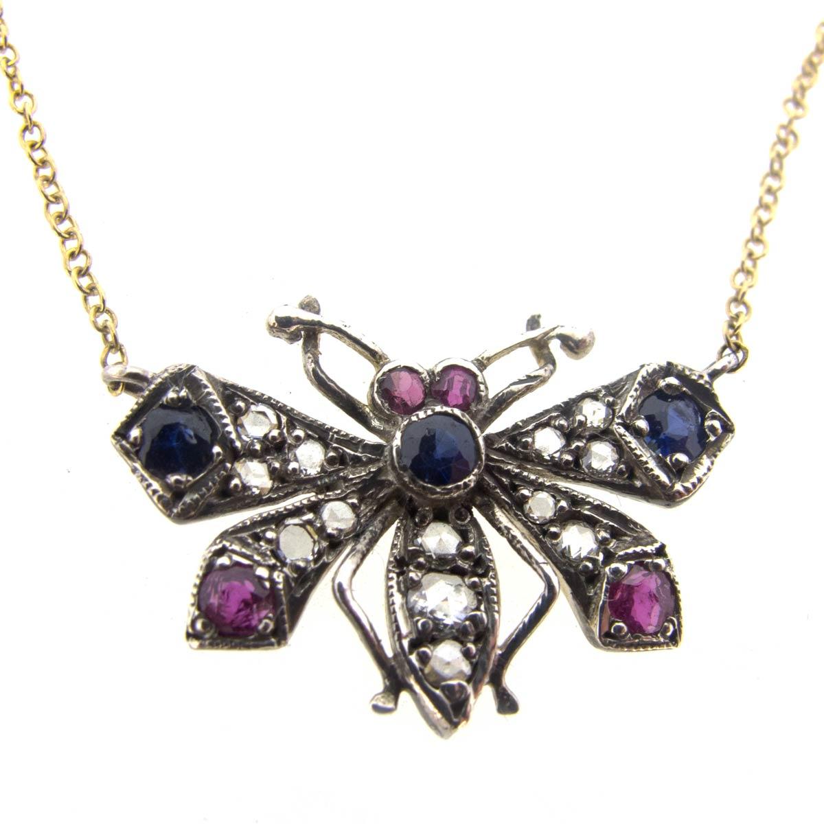 Diamond, Sapphire & Ruby Butterfly Necklace