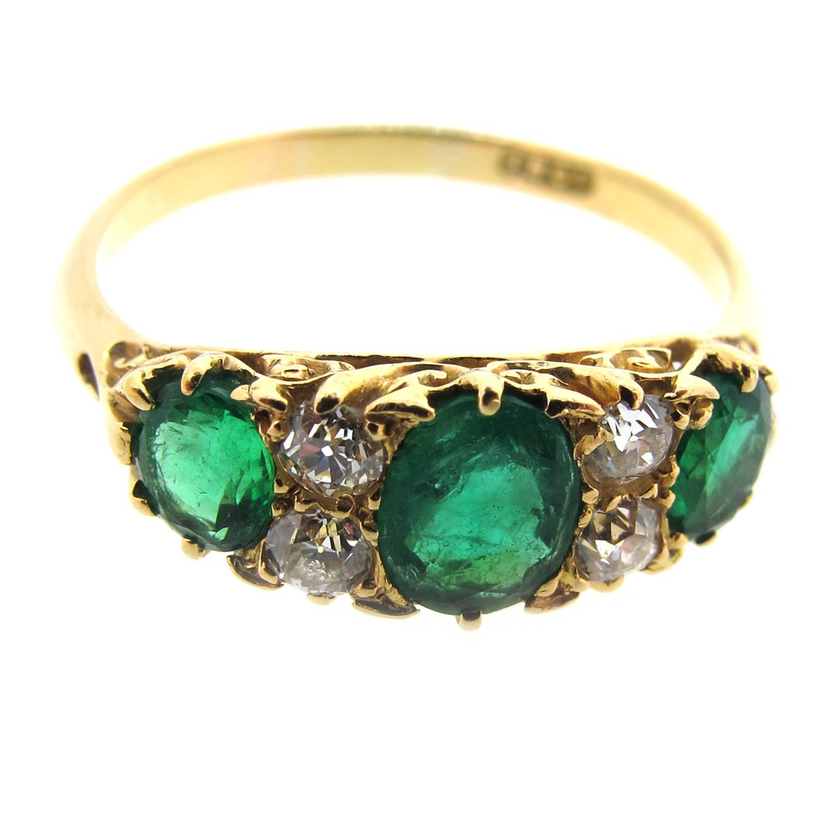 Emerald & Diamond Carved Half Hoop Ring