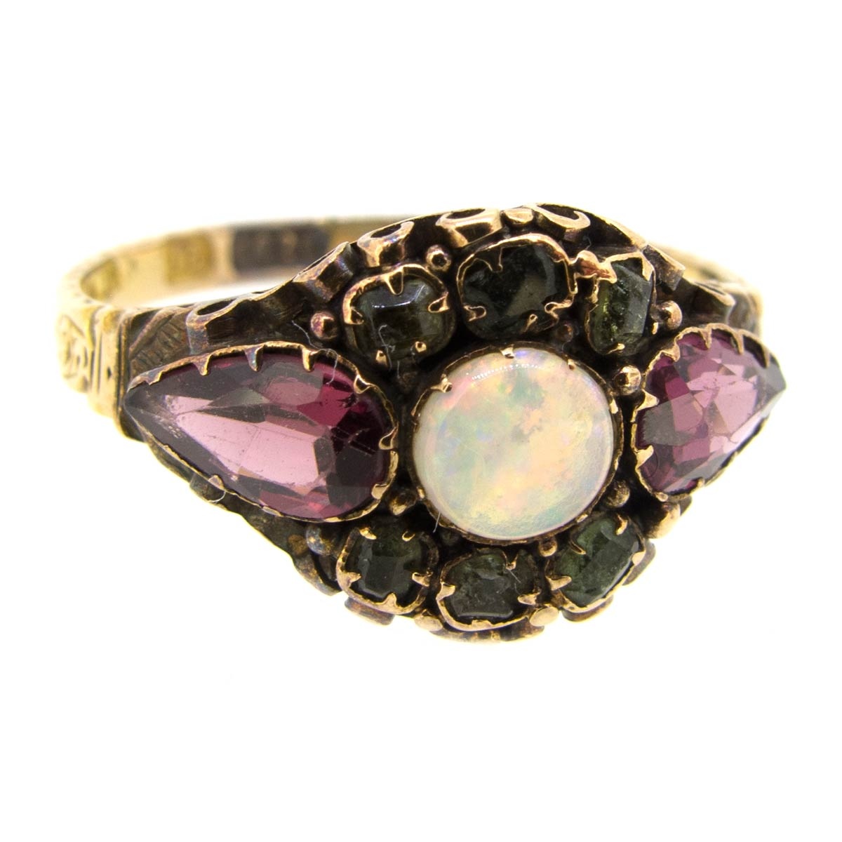 Antique Opal, Amethyst & Emerald Ring