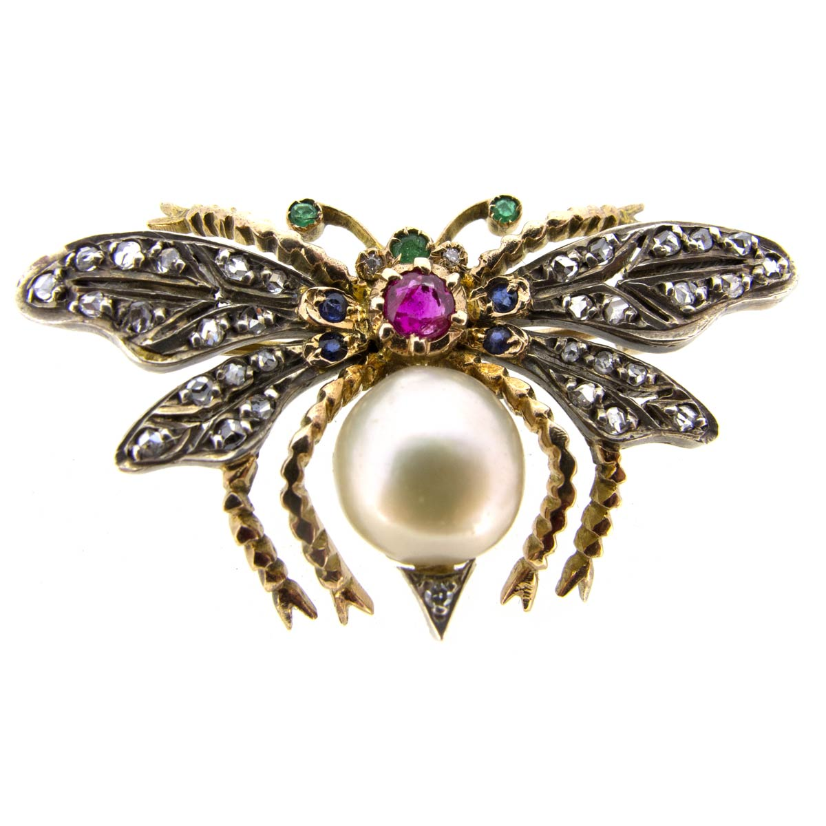Pearl & Gem Bug Brooch