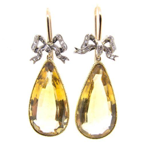 Antique Citrine & Diamond Earrings