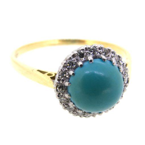 Antique Turquoise & Diamond Halo Ring