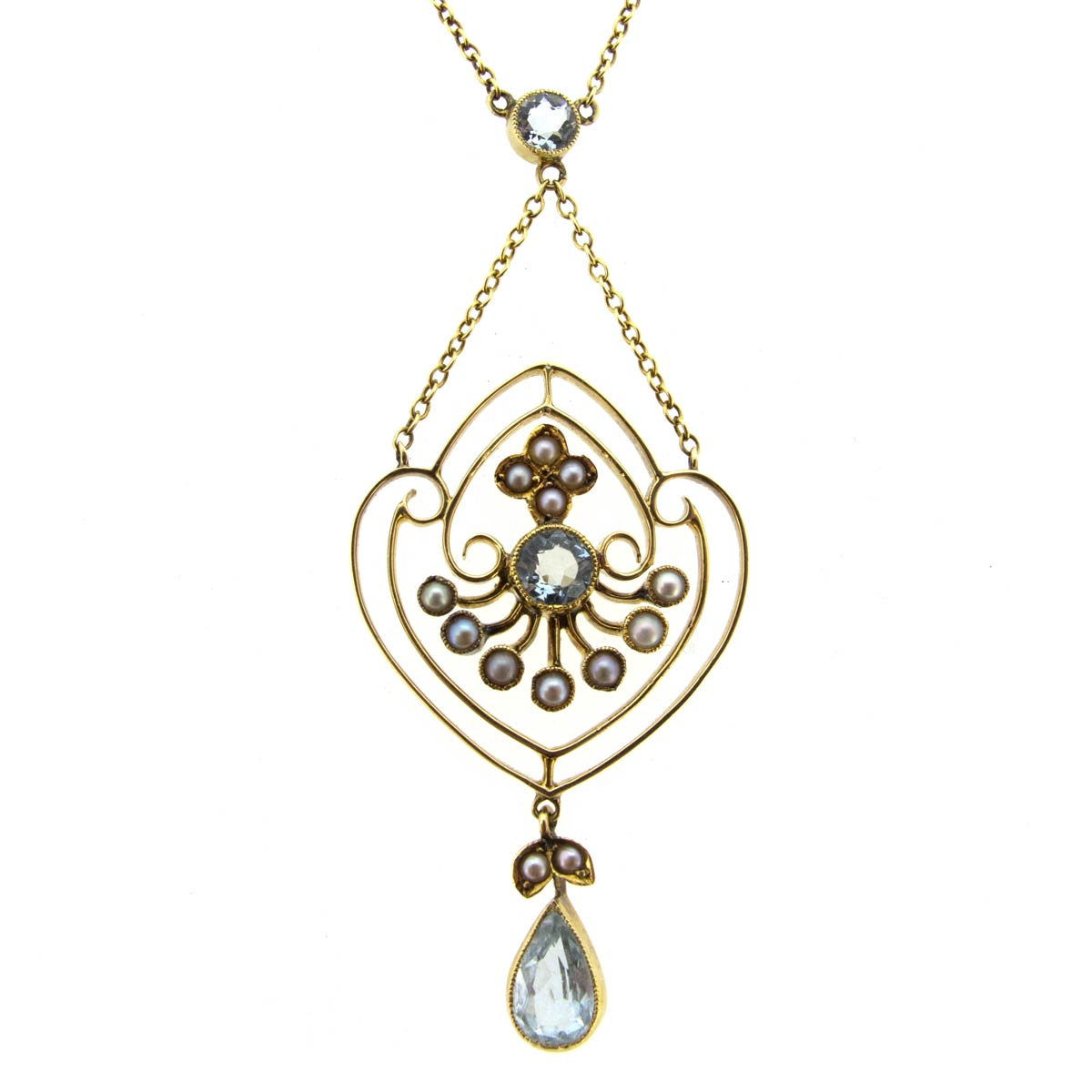 Edwardian Aquamarine & Pearl Necklace