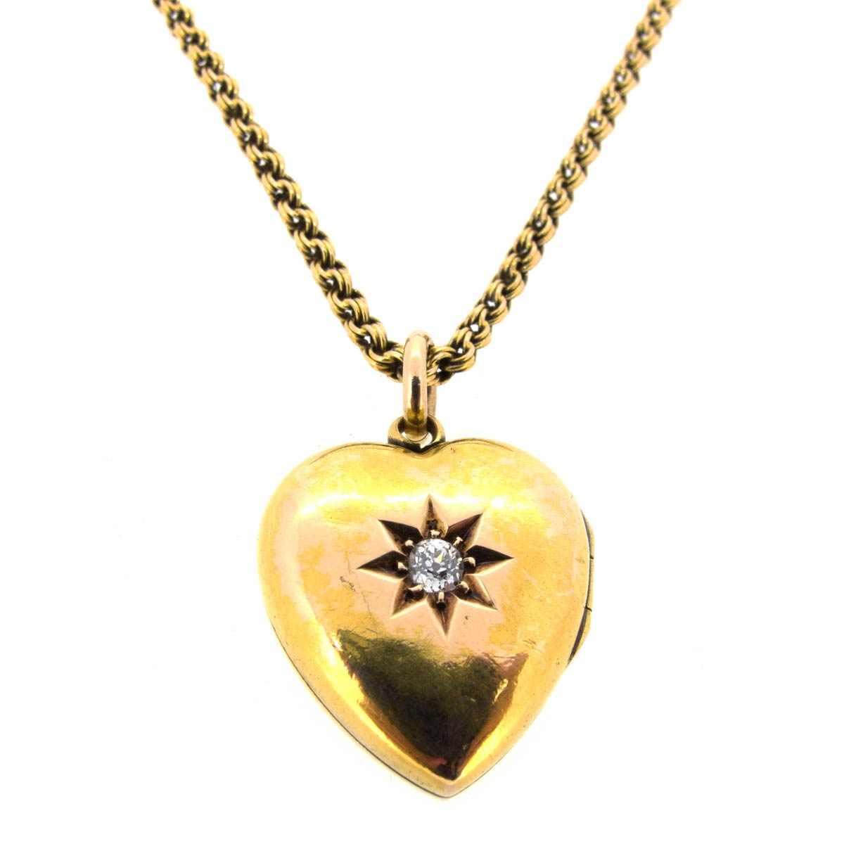 Gold & Diamond Heart Necklace