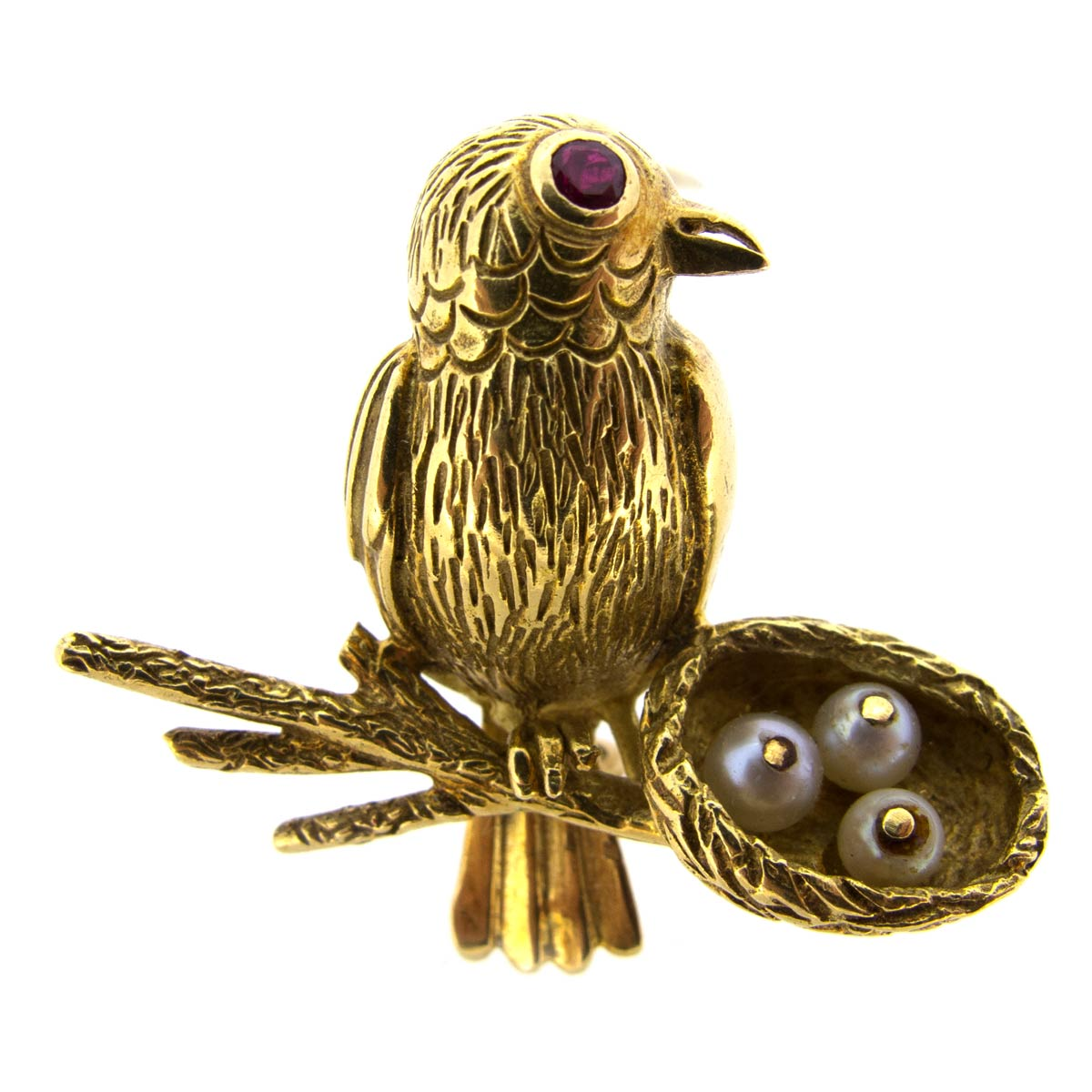 Gold Bird & Nest Brooch
