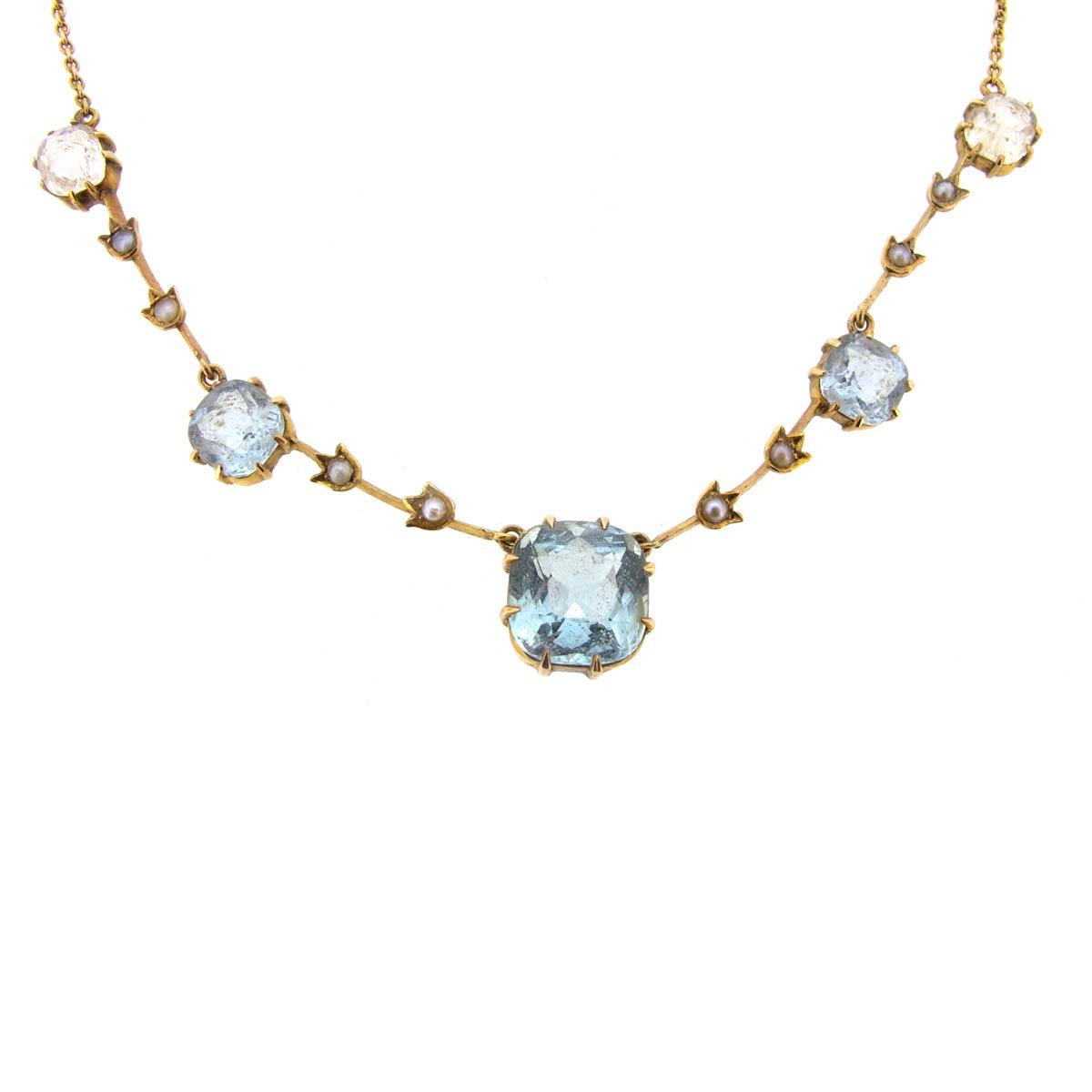 Edwardian Aquamarine, Pearl & Crystal Necklace