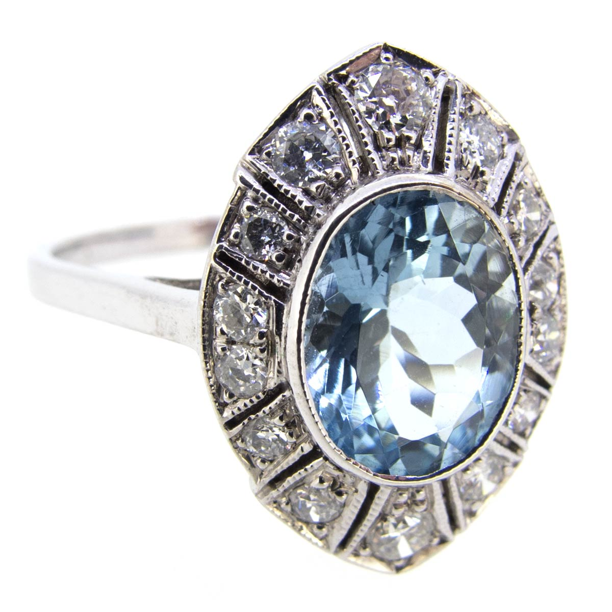 Aquamarine & Diamond Navette Ring