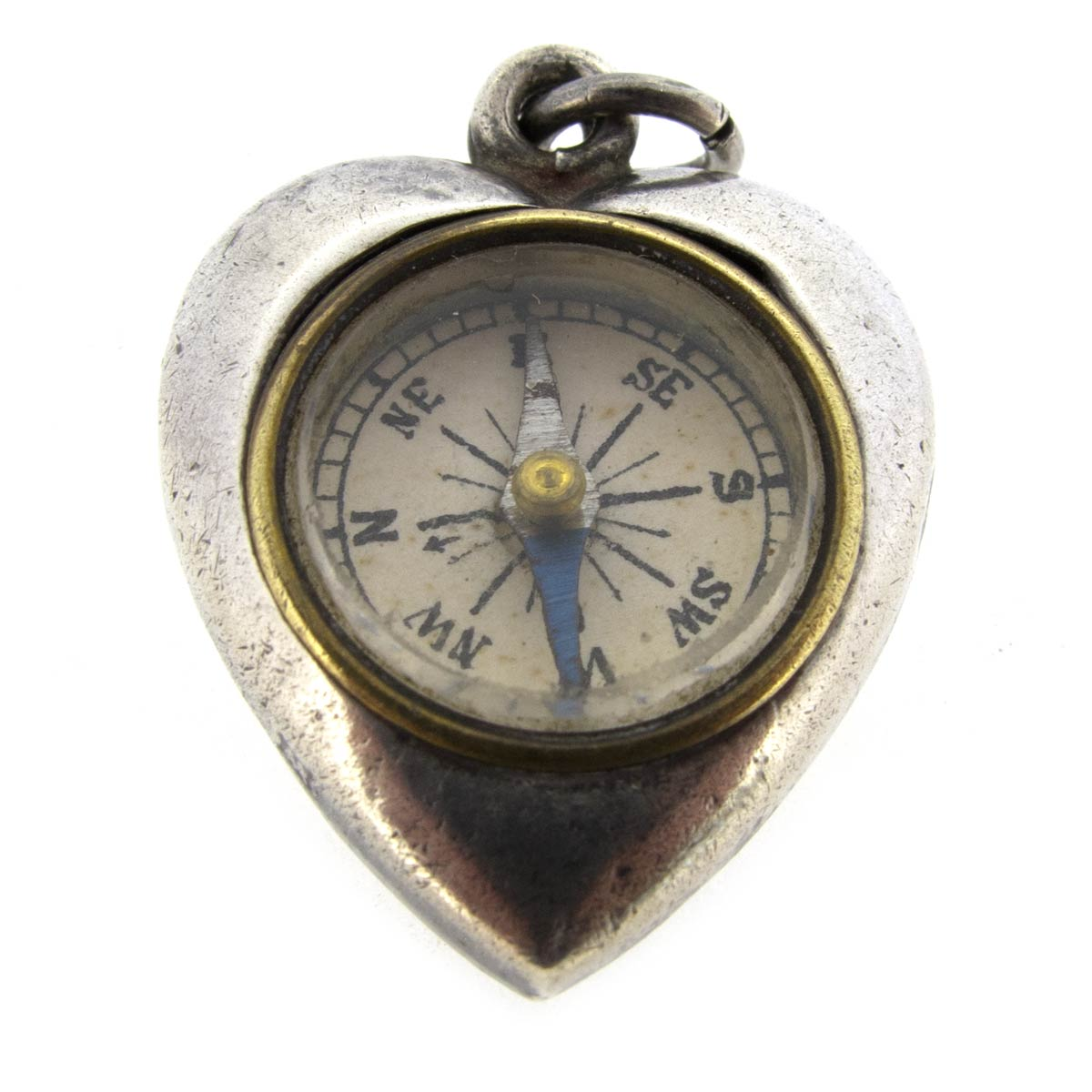 Antique Silver Heart Compass