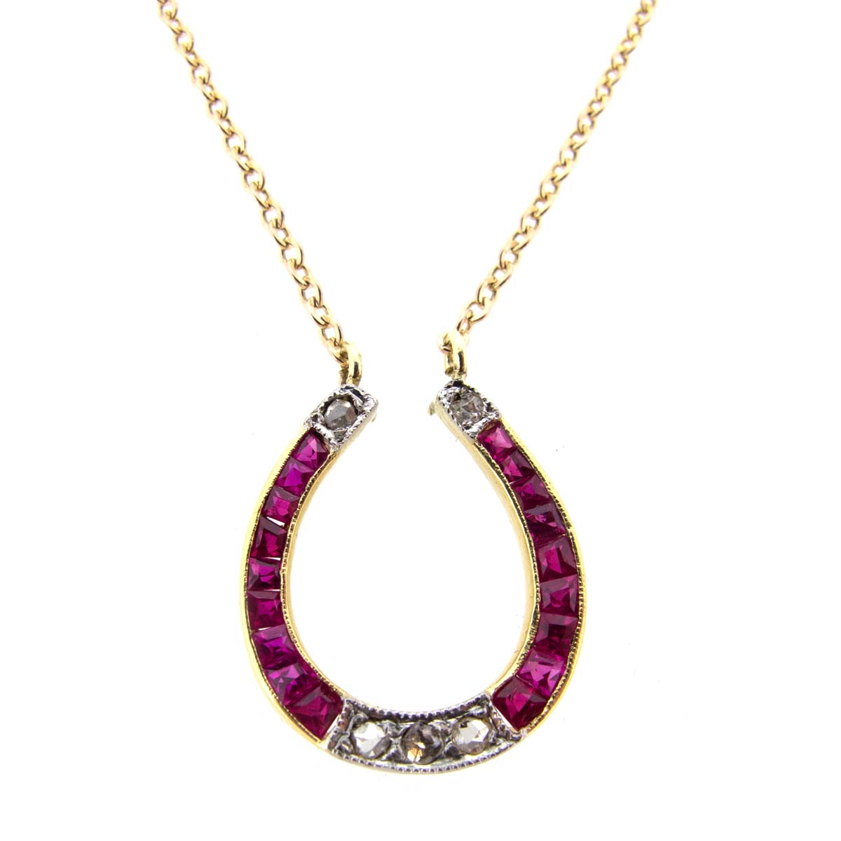 Ruby & Diamond Horseshoe Necklace