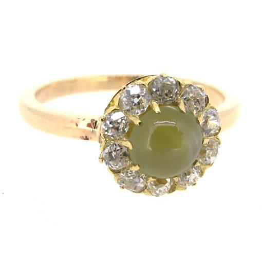 Chrysoberyl & Diamond Halo Ring