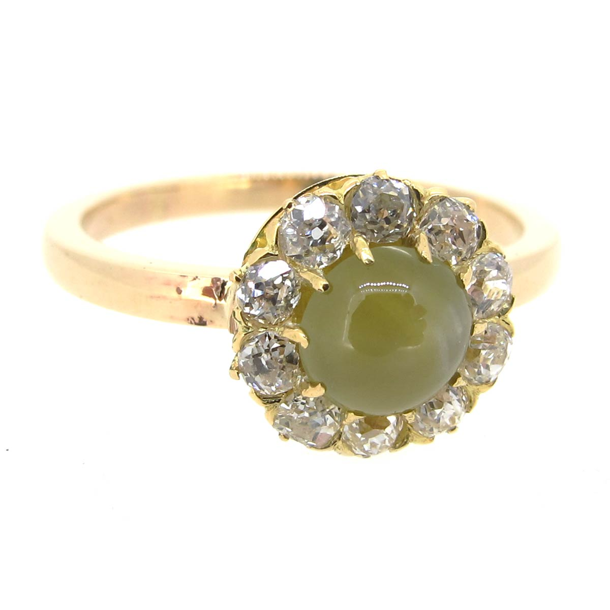 Chrysoberyl & Diamond Halo Ring