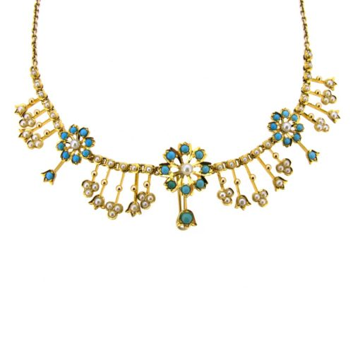Antique Pearl & Turquoise Necklace