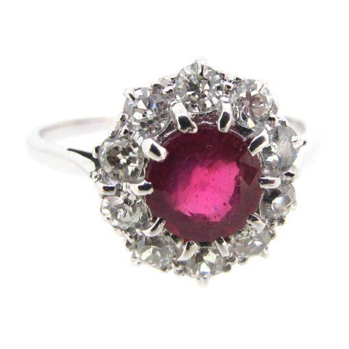 Ruby & Diamond Target Cluster Ring