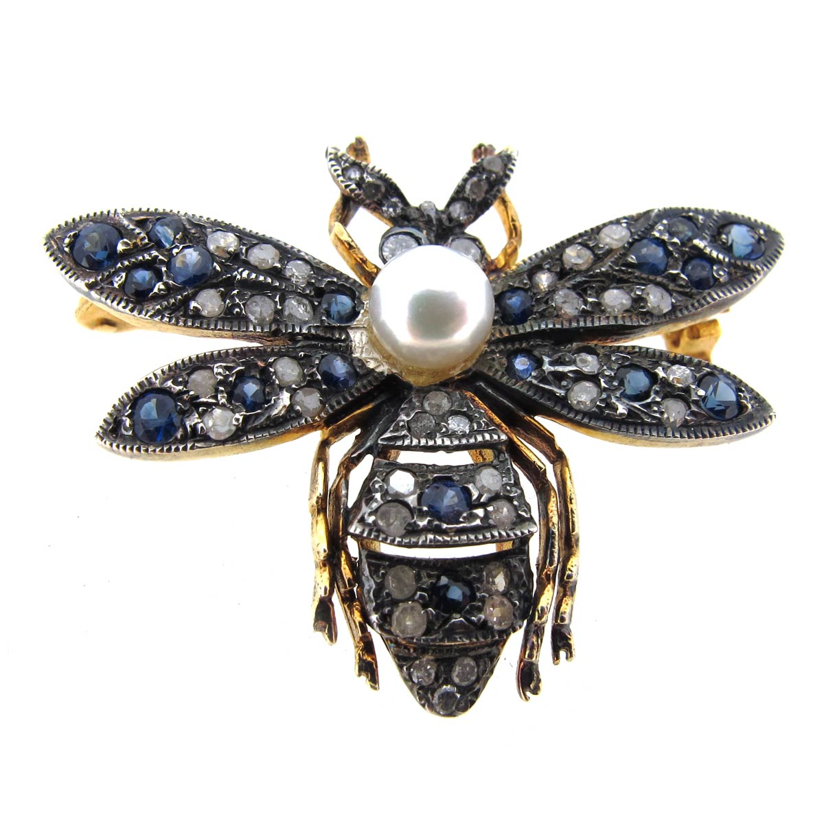 Sapphire, Diamond & Pearl Bug Brooch