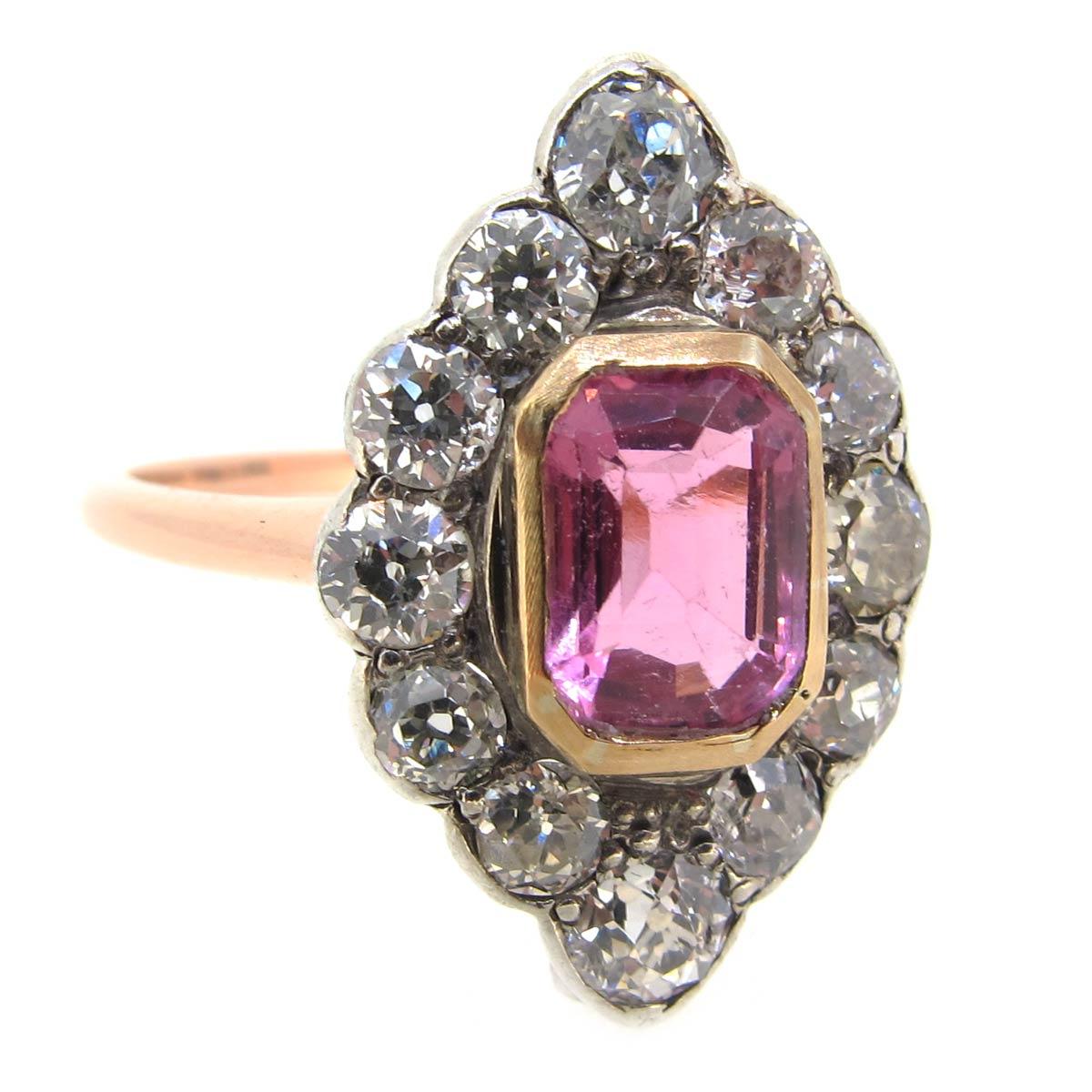 Pink Sapphire & Diamond Navette Ring