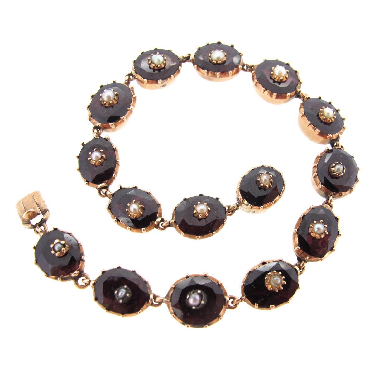 Antique Garnet & Pearl Bracelet