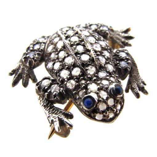 Diamond Frog Brooch