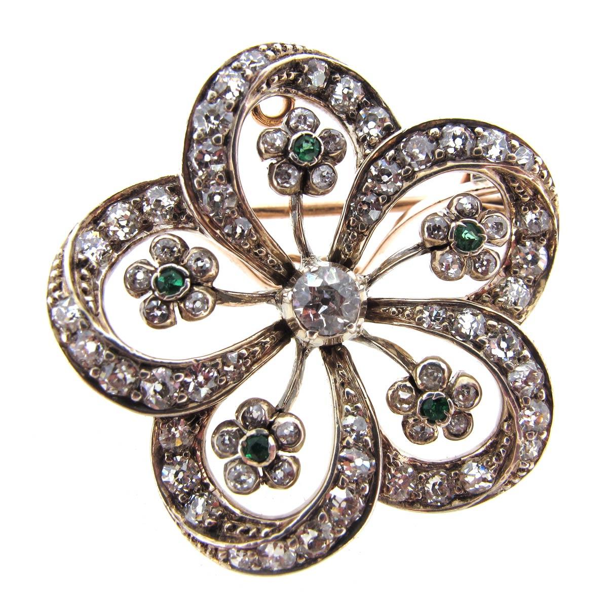 Antique Diamond & Emerald Brooch/ Pendant