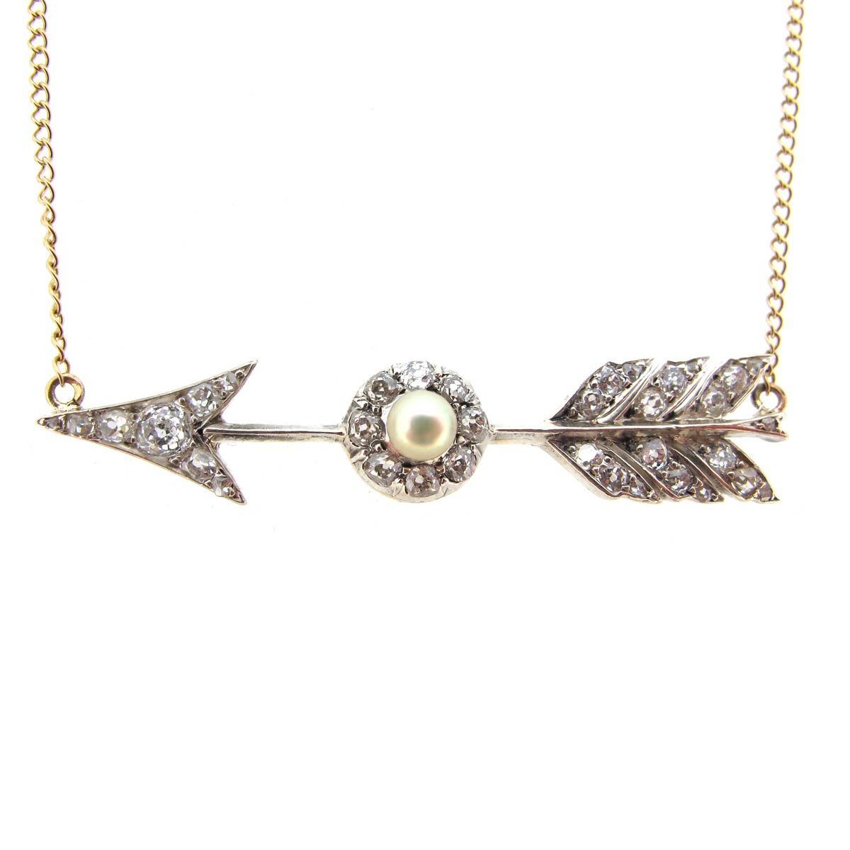 Diamond & Pearl Arrow Necklace