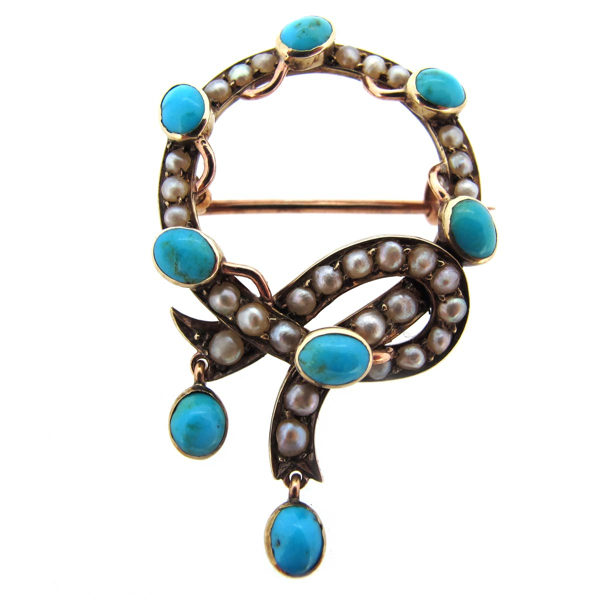 Antique Turquoise & Pearl Brooch