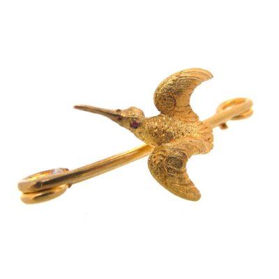 Gold Bird Brooch