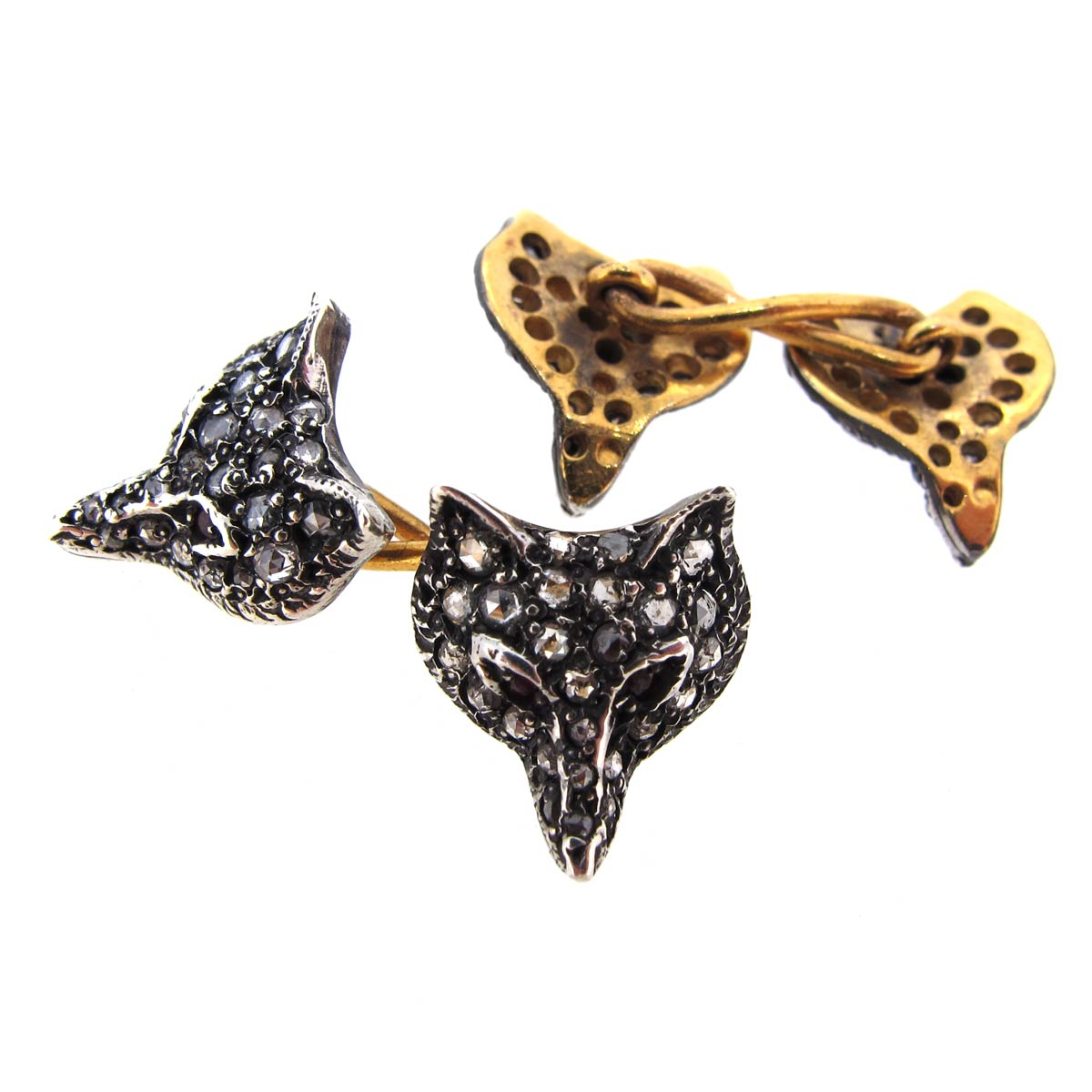 Diamond Fox Head Cufflinks