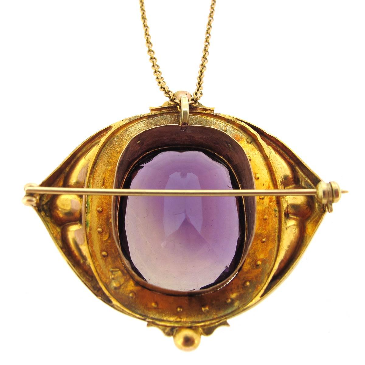 Amethyst & Pearl Necklace/ Brooch