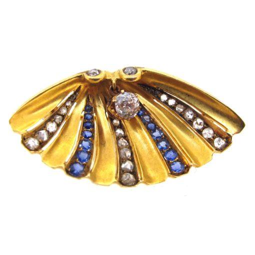 Gold, Sapphire & Diamond Shell Brooch