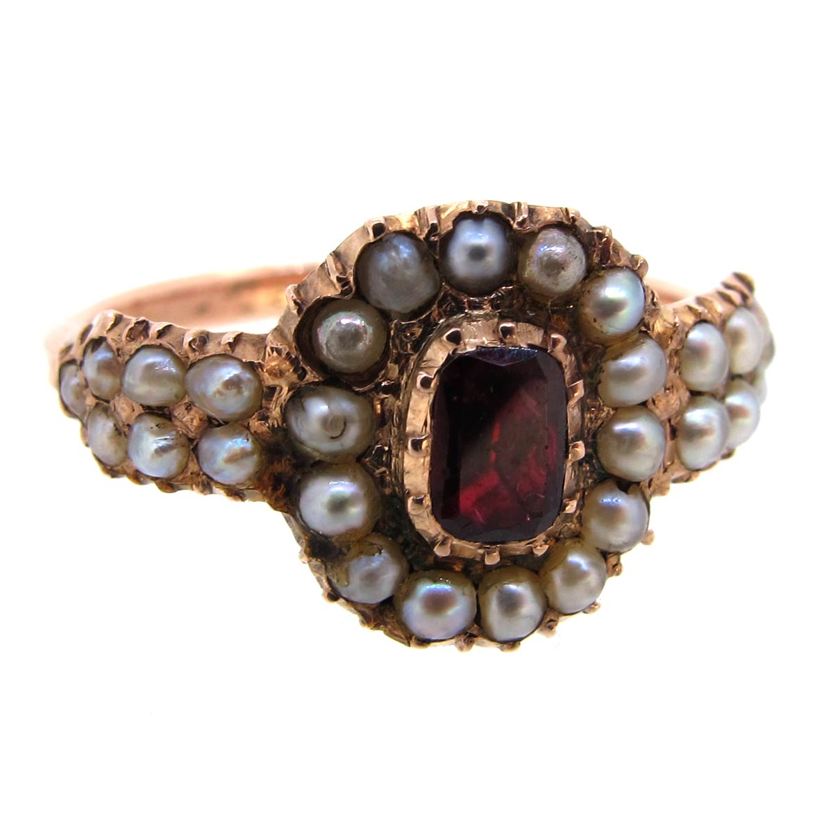 Antique Garnet & Pearl Ring