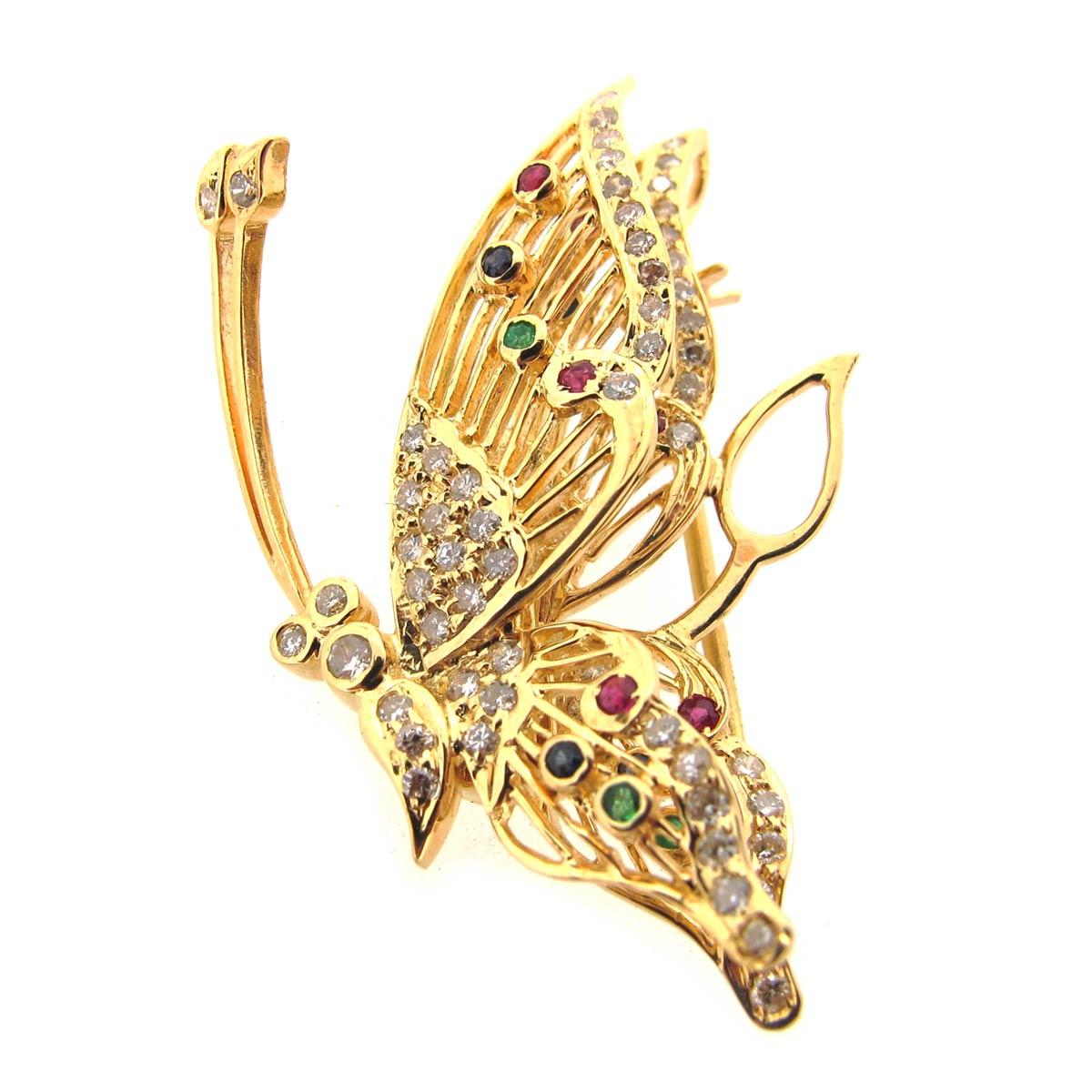Gold & Gem Butterfly Brooch