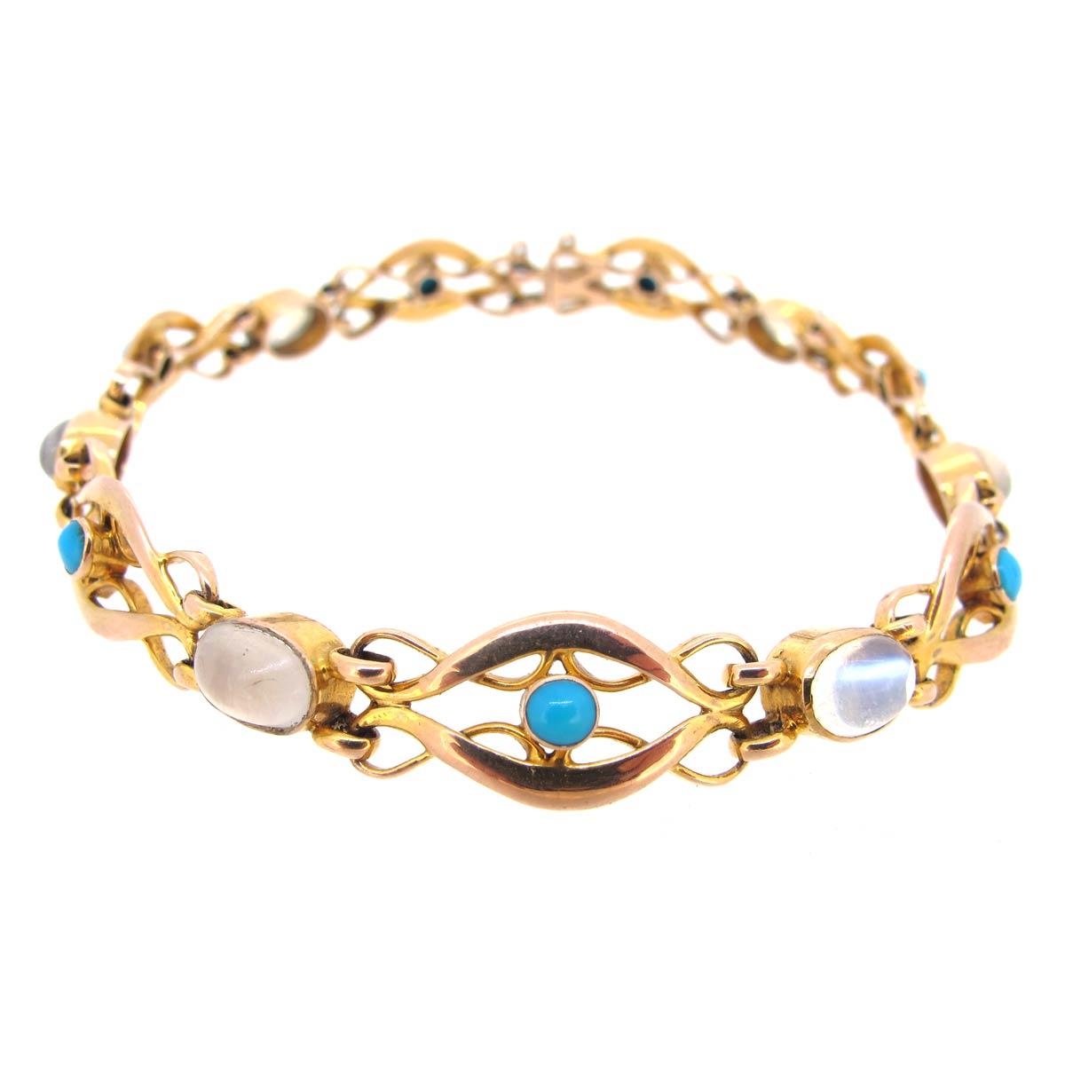 Antique Turquoise & Moonstone Bracelet