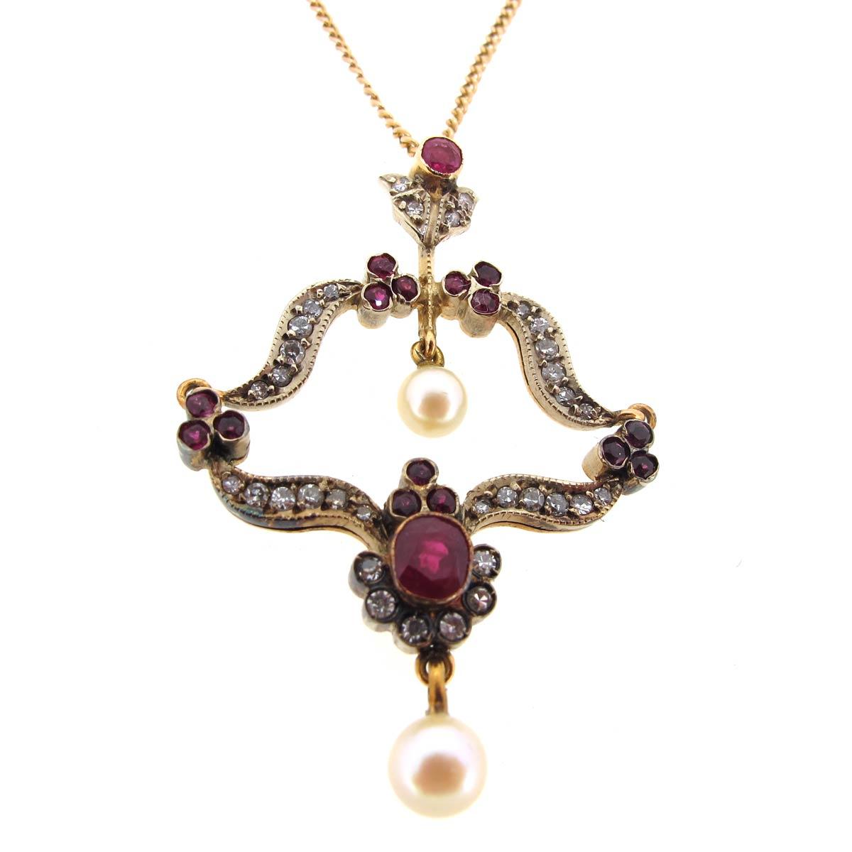 Ruby, Diamond & Pearl Pendant