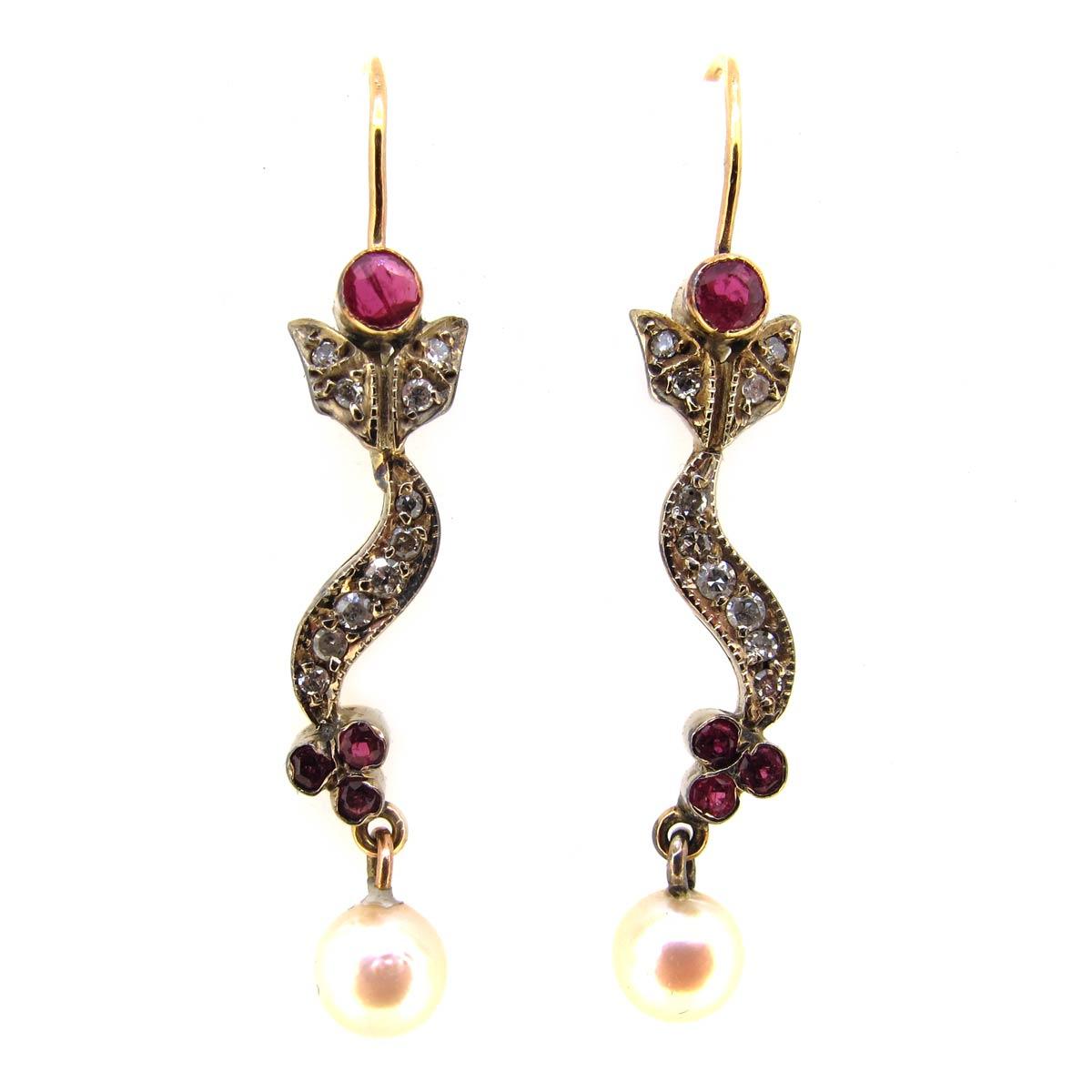Ruby, Diamond & Pearl Earrings
