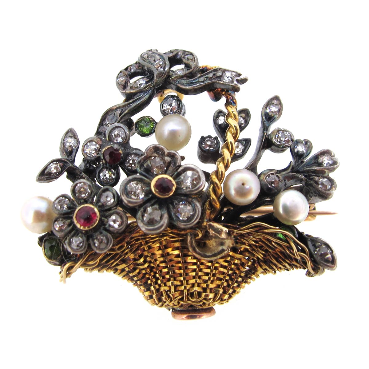 Antique Diamond & Pearl Basket Brooch