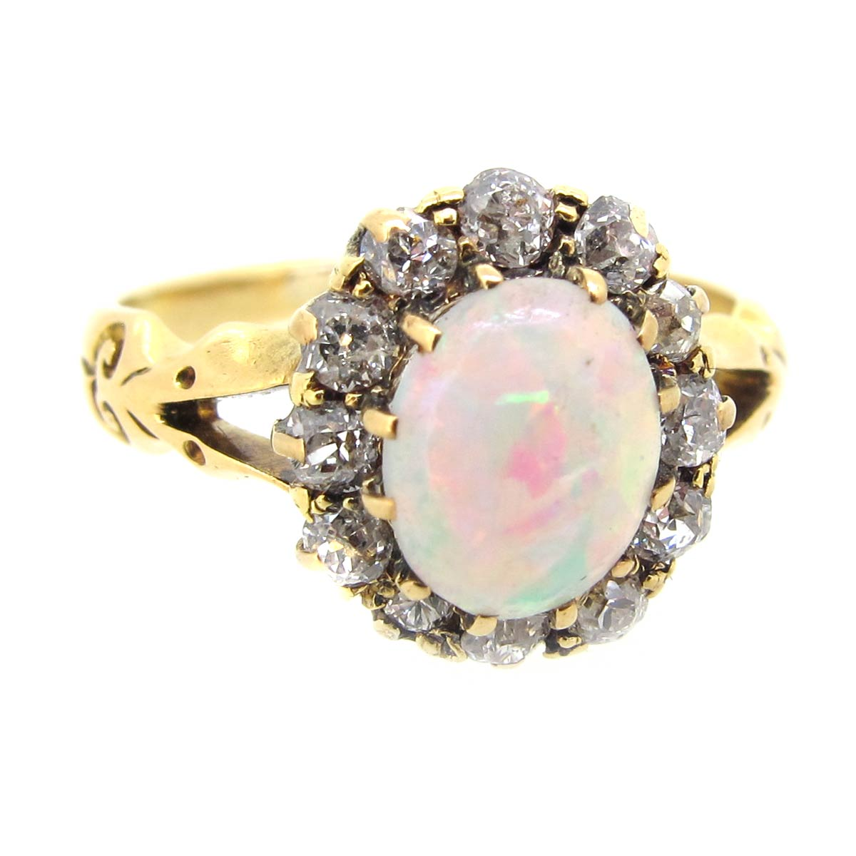 Antique Opal & Diamond Cluster Ring