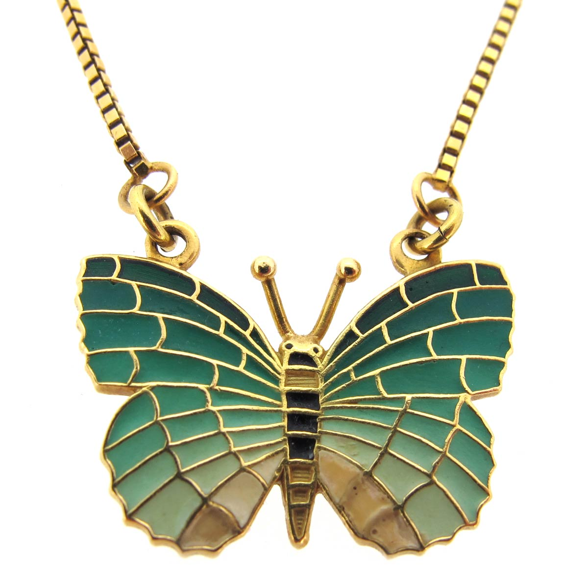 Gold & Enamel Butterfly Necklace