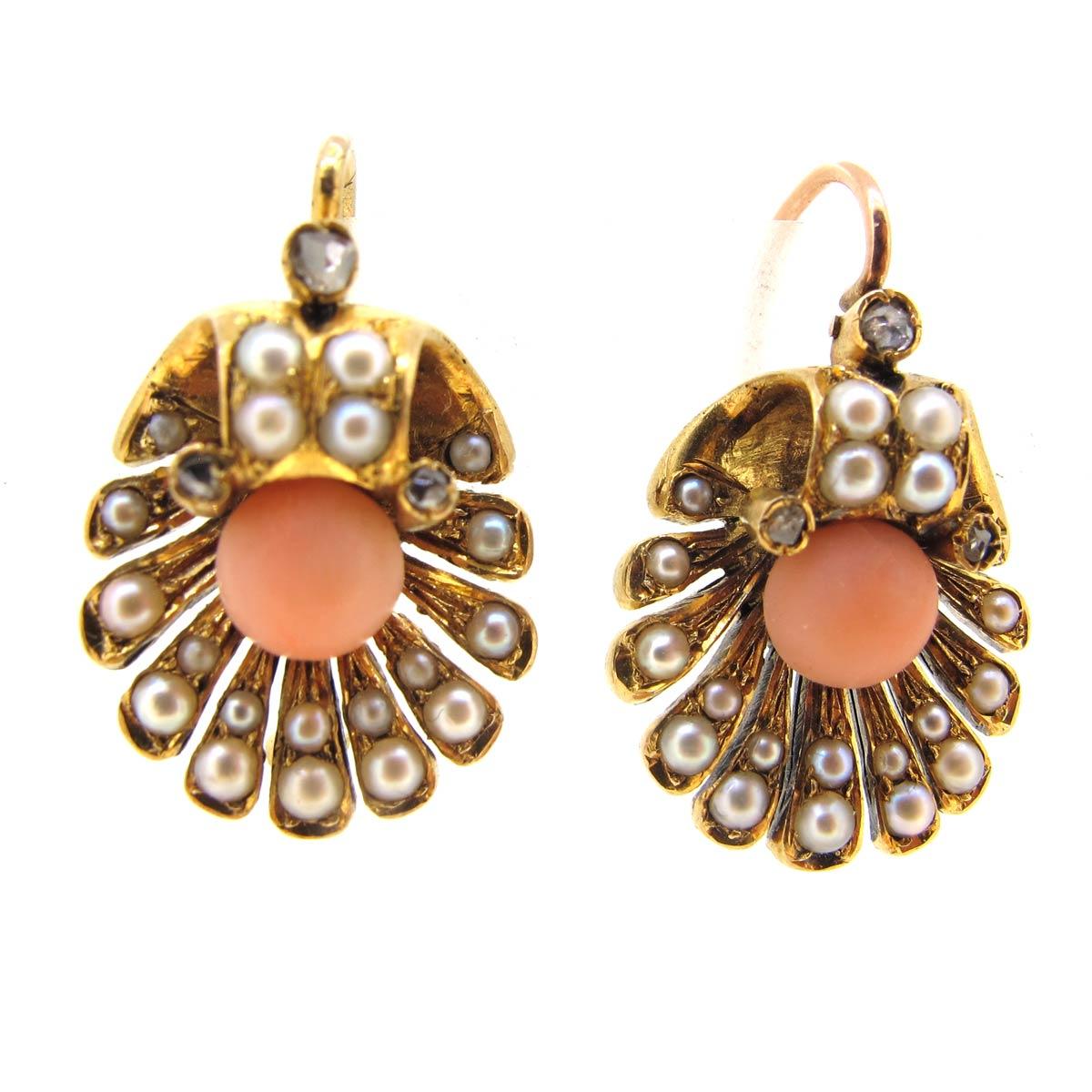 Coral, Pearl & Diamond Shell Earrings
